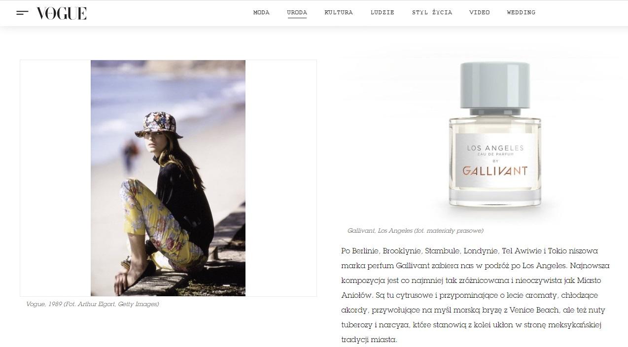 Perfumy Los Angeles w polskim magazynie VOGUE